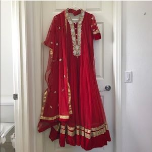 Gorgeous Deep Red Indian Anarkali Gown